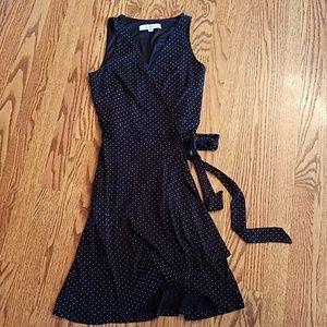 LOFT black polka dot wrap dress